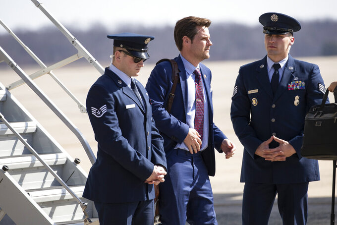 FILE - In this March 9, 2020, file photo Rep. Matt Gaetz, R-Fla., steps off Air Force One upon arrival at Andrews Air Force Base, Md. (AP Photo/Alex Brandon, File)