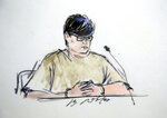 FILE - This Dec. 17, 2015 file courtroom sketch shows Enrique Marquez Jr, in federal court in Riverside, Calif. Marquez Jr., who bought two rifles that a husband and wife used to kill 14 people in a 2015 California terror attack, was sentenced Friday, Oct. 23, 2020, to 20 years in prison. (Bill Robles via AP, File)