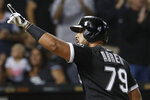 Chicago White Sox's Jose Abreu celebrate after hitting a three-run home run against the Los Angeles Angels during the seventh inning of a baseball game Saturday, Sept. 7, 2019, in Chicago. (AP Photo/Jim Young)