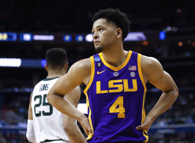 LSU guard Skylar Mays (4) looks up at the score near the end of the team's NCAA men's college basketball tournament East Regional semifinal against Michigan State in Washington, Friday, March 29, 2019. Michigan State won 80-63. (AP Photo/Alex Brandon)