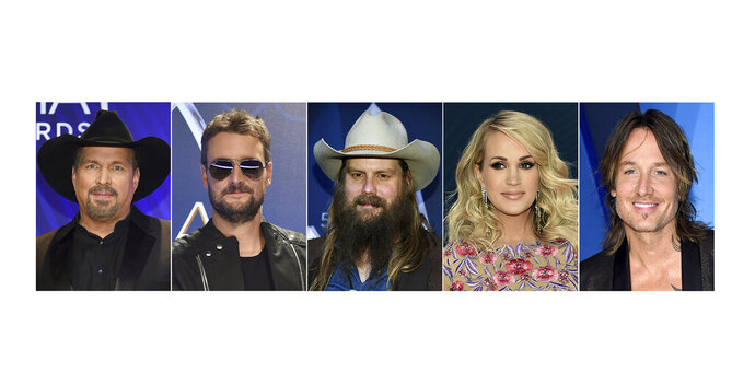 This combination of photos shows, from left, Garth Brooks, Eric Church, Chris Stapleton, Carrie Underwood and Keith Urban, who are up for Entertainer of the Year at the Country Music Association Awards on Wednesday. (AP Photo)