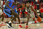 Georgia's Sahvir Wheeler (15) moves the ball downcourt during an NCAA college basketball game against Mississippi in Athens, Ga., Saturday, Jan. 25, 2020. (Joshua L. Jones/Athens Banner-Herald via AP)