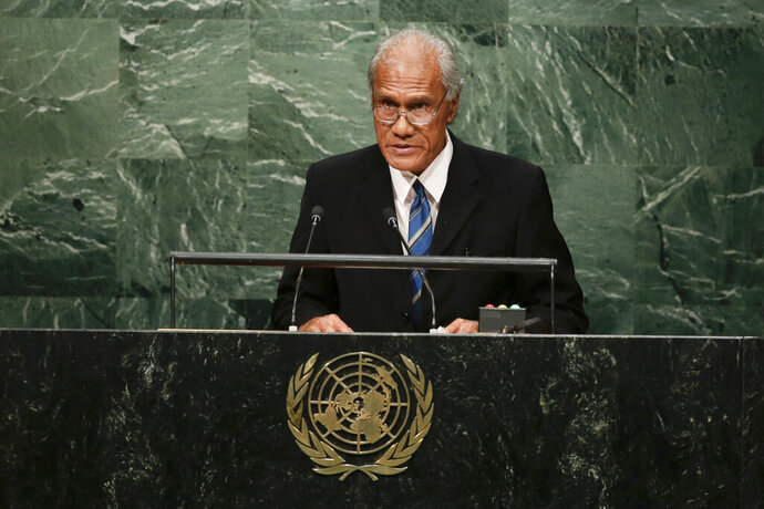 FILE - In this Sept. 26, 2015, file photo, Tongan Prime Minister 'Akilisi Pohiva addresses the 2015 Sustainable Development Summit at the United Nations headquarters in New York. Pohiva, who is credited with helping bring democracy to the small Pacific island nation, has died at the Auckland City Hospital on Thursday, Sept. 12, 2019. He was 78. (AP Photo/Frank Franklin II, File)