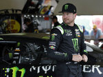 Kurt Busch leaves the garage after practice for the NASCAR Daytona 500 auto race Friday, Feb. 15, 2019, at Daytona International Speedway in Daytona Beach, Fla. (AP Photo/Chris O'Meara)