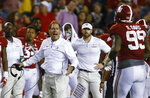 Alabama coach Nick Saban yells to defensive lineman Raekwon Davis (99) after a penalty during the second half of the team's NCAA college football game against Missouri, Saturday, Oct. 13, 2018, in Tuscaloosa, Ala. Alabama won 39-10. (AP Photo/Butch Dill)