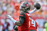 Tampa Bay Buccaneers quarterback Jameis Winston (3) fires a pass against the Atlanta Falcons during the first half of an NFL football game Sunday, Dec. 29, 2019, in Tampa, Fla. (AP Photo/Jason Behnken)
