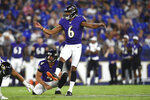 FILE - In this Aug. 8, 2019, file photo, Baltimore Ravens kicker Kaare Vedvik (6) boots a field goal against the Jacksonville Jaguars during the first half of an NFL football preseason game in Baltimore. Looking for solutions for their longtime kicking issues, the Minnesota Vikings traded for Vedvik from the Ravens on Sunday, Aug. 11, 2019. (AP Photo/Gail Burton, File)