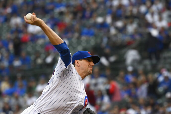 Chicago Cubs starting pitcher Kyle Hendricks delivers during the first inning of a baseball game against the St. Louis Cardinals, Sunday, June 9, 2019, in Chicago. (AP Photo/Matt Marton)