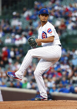 Chicago Cubs starting pitcher Yu Darvish delivers against the Philadelphia Phillies during the first inning of a baseball game, Monday, May 20, 2019, in Chicago. (AP Photo/Kamil Krzaczynski)