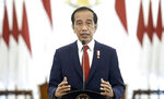 In this photo taken from video and shown at United Nations headquarters, Indonesia's President Joko Widodo remotely addresses the 76th session of the U.N. General Assembly in a pre-recorded message, Wednesday, Sept. 22, 2021. (UN Web TV via AP)