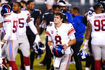 New York Giants' Daniel Jones walks off the field after an NFL football game Philadelphia Eagles, Thursday, Oct. 22, 2020, in Philadelphia. (AP Photo/Chris Szagola)