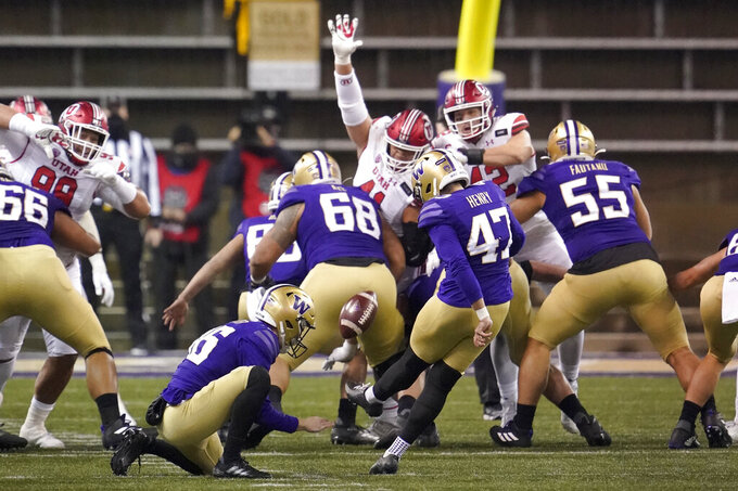 Washington's Peyton Henry (47) kicks a field goal against Utah during the first half of an NCAA college football game Saturday, Nov. 28, 2020, in Seattle. (AP Photo/Ted S. Warren)