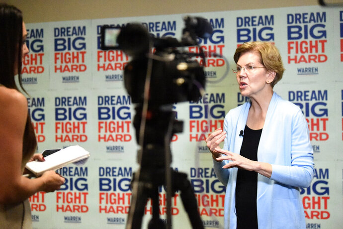 Democratic presidential candidate Elizabeth Warren speaks during an interview with The Associated Press on Sunday, Dec. 8, 2019, in Charleston, S.C. (AP Photo/Sarah Blake Morgan)