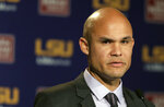 FILE - In this Jan. 5, 2016, file photo, LSU defensive coordinator Dave Aranda is shown during a press conference in Baton Rouge, La. Baylor hired LSU defensive coordinator Dave Aranda as its new head coach Thursday, Jan. 16, 2020, three days after the Tigers completed their undefeated national championship. (G. Andrew Boyd/The Times-Picayune/The New Orleans Advocate via AP, File)