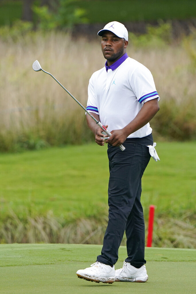 Harold Varner III misses his birdie putt attempt on the seventh hole during the first round of the Wyndham Championship golf tournament at Sedgefield Country Club on Thursday, Aug. 13, 2020, in Greensboro, N.C. (AP Photo/Chris Carlson)
