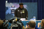 Louisville offensive lineman Mekhi Becton speaks during a press conference at the NFL football scouting combine in Indianapolis, Wednesday, Feb. 26, 2020. (AP Photo/Michael Conroy)