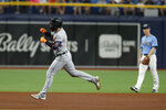 Detroit Tigers' Eric Haase circles the bases after hitting a homer against the Tampa Bay Rays during the fourth inning of a baseball game Sunday, Sept. 19, 2021, in St. Petersburg, Fla. (AP Photo/Scott Audette)