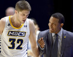 Chattanooga coach Lamont Paris instructs Marr Ryan (32) during the team's NCAA college basketball game against Wofford on Wednesday, Jan. 15, 2020, in Chattanooga, Tenn. (Robin Rudd/Chattanooga Times Free Press via AP)