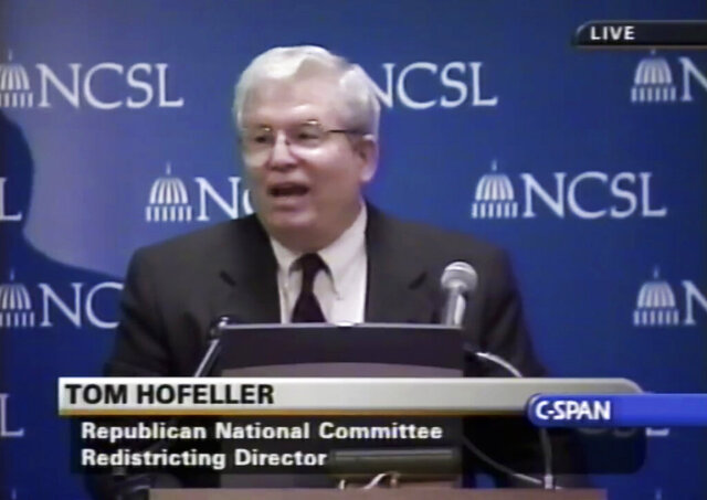 FILE - In this Aug. 13, 2001, file frame from video provided by C-SPAN, Thomas Hofeller speaks during an event at the Republican National Committee in Washington. Thousands of formerly confidential documents and emails that influenced the outcome of a partisan gerrymandering lawsuit have been made public. A judge has yet to decide whether others should stay confidential. (C-SPAN via AP, File)