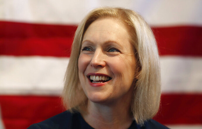 FILE - In this July 12, 2019, file photo, Democratic presidential candidate Sen. Kirsten Gillibrand, D-N.Y., speaks at a town hall meeting during a campaign stop in Bloomfield Hills, Mich. Plagued by anemic polling and fundraising, many 2020 Democratic presidential campaigns have fallen into a spiral of perceived struggles that become increasingly self-fulfilling. That includes Gillibrand's championing of women's rights, Washington Gov. Jay Inslee's focus on climate change and former Colorado Gov. John Hickenlooper's pitch as a principled moderate. (AP Photo/Carlos Osorio, File)