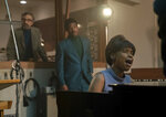 """This image released by MGM shows Marc Maron as Jerry Wexler, from left, Marlon Wayans as Ted White and Jennifer Hudson as Aretha Franklin in a scene from """"Respect."""" (Quantrell D. Colbert/MGM via AP)"""
