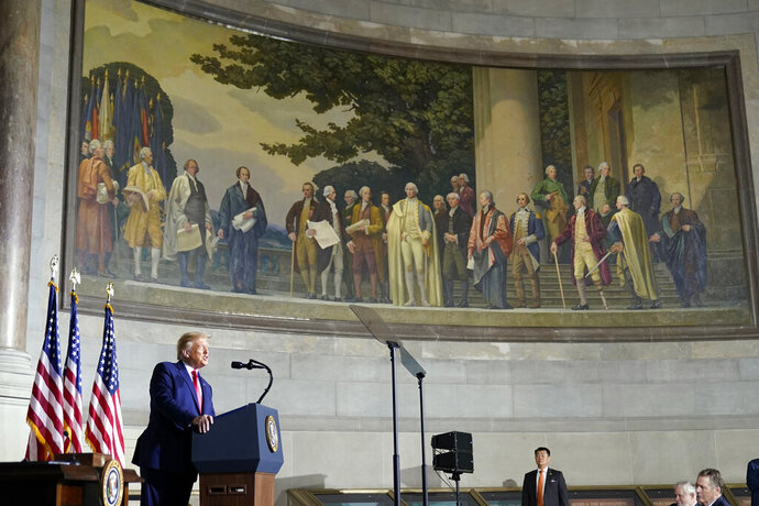 President Donald Trump speaks to the White House conference on American History at the National Archives museum, Thursday, Sept. 17, 2020, in Washington. (AP Photo/Alex Brandon)