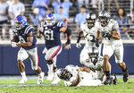 Mississippi running back Jerrion Ealy (9) scores on a long run in the third quarter against Vanderbilt during an NCAA college football game in Oxford, Miss., Saturday, Oct. 5, 2019. (Bruce Newman/The Oxford Eagle via AP)