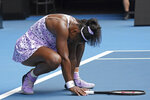 Serena Williams of the U.S. reacts as she plays China's Wang Qiang in their third round singles match at the Australian Open tennis championship in Melbourne, Australia, Friday, Jan. 24, 2020. (AP Photo/Lee Jin-man)