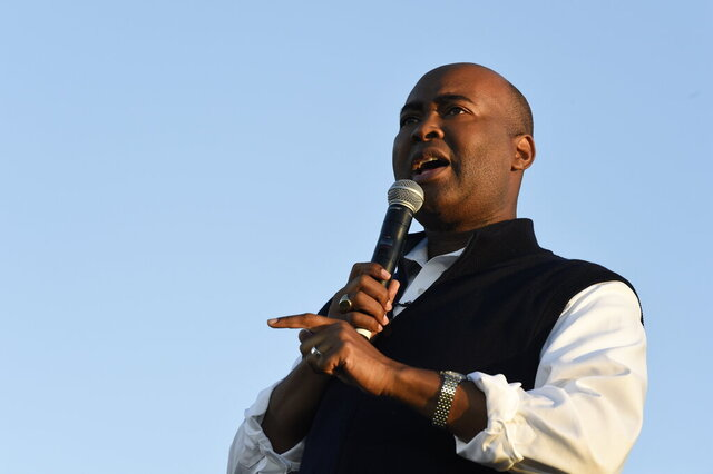 FILE - In this Oct. 17, 2020, file photo then-Democratic U.S. Senate candidate Jaime Harrison speaks at a campaign rally in North Charleston, S.C. Harrison, the failed South Carolina Senate candidate and longtime Democratic Party official, is President-elect Joe Biden's choice to lead the national party, according to multiple party officials. (AP Photo/Meg Kinnard, File)