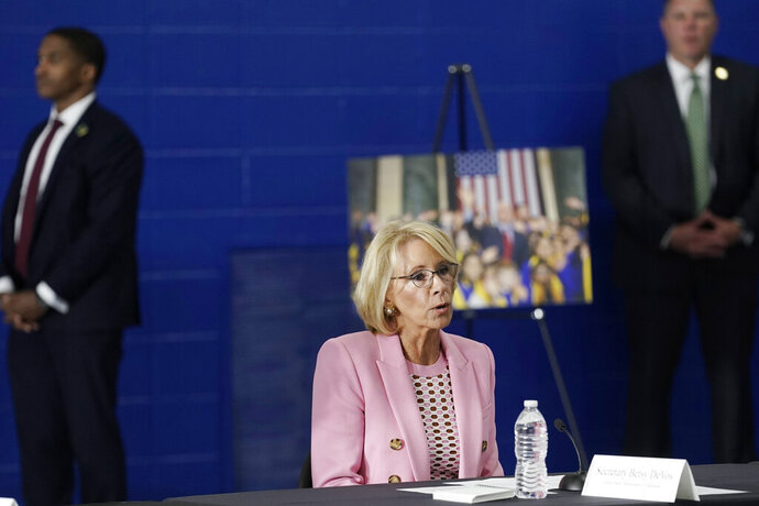 Education Secretary Betsy DeVos participates in a roundtable event at Waukesha STEM Academy Tuesday, June 23, 2020, in Waukesha, Wis. (AP Photo/Morry Gash)