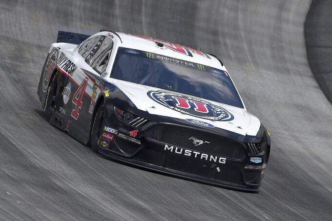 Kevin Harvick (4) competes during the NASCAR Cup Series auto race, Monday, May 6, 2019, at Dover International Speedway in Dover, Del. (AP Photo/Will Newton)
