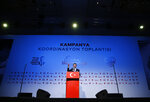 Ekrem Imamoglu, Turkey's opposition, Republican People's Party's (CHP) mayoral candidate for Istanbul gestures as he delivers a speech at the launch of his campaign for the June 23 re-run elections, in Istanbul, Wednesday, May 22, 2019. Imamoglu, promising he would win back the seat after Turkey's electoral board ruled to void the local polls earlier this month, is running a positive messaging campaign under the motto