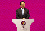 Thailand Prime Minister Prayuth Chan-ocha delivers a speech during the opening ceremony of the 35th Association of Southeast Asian Nations (ASEAN) meeting in Nonthaburi, Thailand Sunday, Nov. 3, 2019. (AP Photo/Sakchai Lalit)