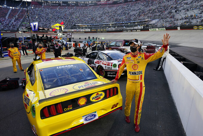 Joey Logano (22) is introduced before the NASCAR Cup Series auto race Saturday, Sept. 19, 2020, in Bristol, Tenn. (AP Photo/Steve Helber)