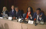 This Thursday, April 12, 2018 image from video, shows Herve Jaubert, right a former  French spy, speaking during a press conference with Radha Stirling, the founder and CEO of Detained in Dubai, second right and others, at the Conrad Hotel in London, England. Jaubert said he tried to help Sheikha Latifa bint Mohammed Al Maktoum, a daughter of Sheikh Mohammed bin Rashid Al Maktoum, Dubai's ruler and the Emirates' prime minister and vice president, flee the country in a cloak-and-dagger escape by sea in March 2018, but was thwarted when commandos intercepted her on a sailboat in the Arabian Sea. (AP Photo)