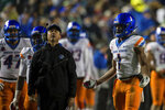 Boise State wide receiver Octavius Evans (1) reacts to a call during the second half against BYU in an NCAA football game Saturday, Oct. 19, 2019, in Provo, Utah. (AP Photo/Tyler Tate)