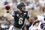 Vanderbilt quarterback Riley Neal (6) passes against Northern Illinois in the second half of an NCAA college football game Saturday, Sept. 28, 2019, in Nashville, Tenn. Vanderbilt won 24-18. (AP Photo/Mark Humphrey)