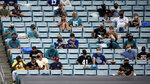 Fans are seated apart for social distancing during the first half of an NFL football game between the Jacksonville Jaguars and the Indianapolis Colts, Sunday, Sept. 13, 2020, in Jacksonville, Fla. (AP Photo/Stephen B. Morton)