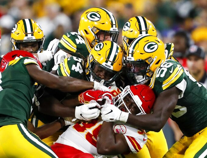 Kansas City Chiefs' Marcus Marshall is stopped during the second half of a preseason NFL football game against the Kansas City Chiefs Thursday, Aug. 29, 2019, in Green Bay, Wis. (AP Photo/Matt Ludtke)