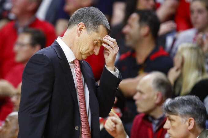 Maryland coach Mark Turgeon reacts during the second half of the team's NCAA college basketball game against Rutgers, Tuesday, March 3, 2020, in Piscataway, N.J. (AP Photo/John Minchillo)