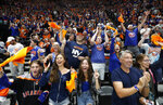 New York Islanders fans cheer a goal in the second period against the Tampa Bay Lightning of Game 4 of an NHL hockey Stanley Cup semifinal, Saturday, June 19, 2021, in Uniondale, N.Y. (AP Photo/Jim McIsaac)