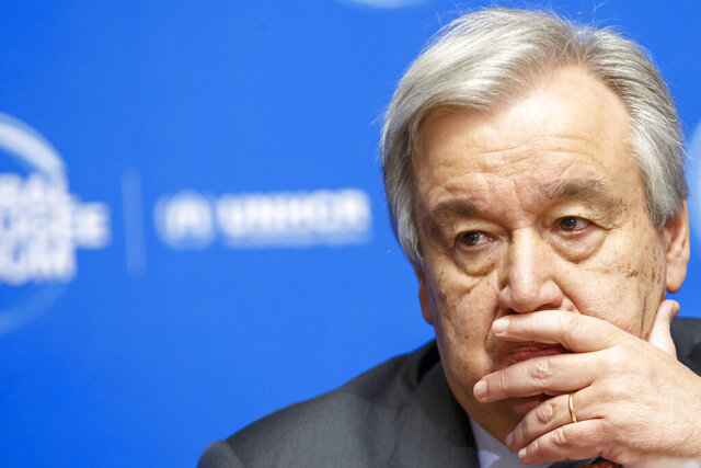 "FILE - In this Dec. 17, 2019 file photo, U.N. Secretary-General Antonio Guterres attends the UNHCR - Global Refugee Forum at the European headquarters of the United Nations in Geneva, Switzerland. When financial markets collapsed and the world faced its last great crisis in 2008, major powers worked together to restore the global economy, but the COVID-19 pandemic has been striking for the opposite response. The financial crisis gave birth to the leaders' summit of the Group of 20, the world's richest countries responsible for 80% of the global economy. But when Guterres proposed ahead of their summit in late March that G-20 leaders adopt a ""wartime"" plan and cooperate on the global response to suppress the virus, there was no response (Salvatore Di Nolfi/Keystone via AP, File)"