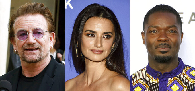 """U2 frontman Bono speaks to the media after a meeting at the Elysee Palace, in Paris, on July 24, 2019, from left, actress Penelope Cruz attends the """"Wasp Network"""" premiere during the 57th New York Film Festival in New York on Oct. 5, 2019, and David Oyelowo attends the GEANCO Foundation Hollywood Gala in Los Angeles on Oct. 10, 2019.  Bono, Cruz and Oyelowo will lend their voices in an animated series to raise awareness about the importance of vaccine access. The ONE Campaign announced Wednesday that the series """"Pandemica"""" will launch Thursday. (AP Photo)"""