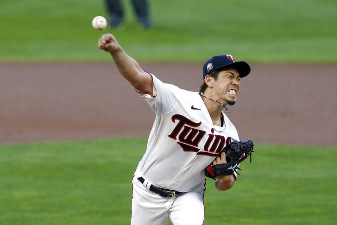Minnesota Twins pitcher Kenta Maeda of Japan throws against the Milwaukee Brewers in the first inning of a baseball game Tuesday, Aug. 18, 2020, in Minneapolis. (AP Photo/Jim Mone)