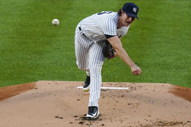 New York Yankees' Gerrit Cole delivers a pitch during the first inning of a baseball game against the Boston Red Sox Friday, Aug. 14, 2020, in New York. (AP Photo/Frank Franklin II)