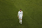 Argentina's Lionel Messi leaves the pitch after receiving the red card during the Copa America third-place soccer match against Chile at the Arena Corinthians in Sao Paulo, Brazil, Saturday, July 6, 2019. (AP Photo/Nelson Antoine)