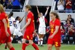 U.S. forward Carli Lloyd (10) celebrates her second goal against Belgium during the first half of an international friendly soccer match Sunday, April 7, 2019, in Los Angeles. (AP Photo/Ringo H.W. Chiu)