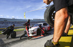 Cole Custer pits during a NASCAR Xfinity Series auto race at Las Vegas Motor Speedway, Saturday, Sept. 14, 2019, in Las Vegas. (Chase Stevens/Las Vegas Review-Journal via AP)