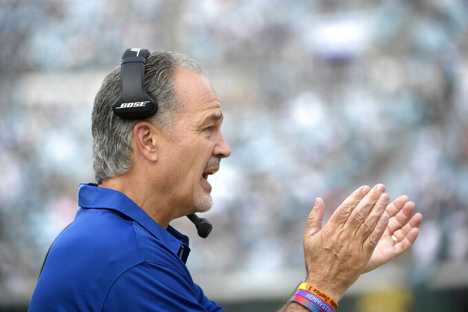 FILE - In this Dec. 3, 2017, file photo, then-Indianapolis Colts coach Chuck Pagano calls out encouragement during the first half of the team's NFL football game against the Jacksonville Jaguars in Jacksonville, Fla. The Bears hired former Colts coach Pagano to replace Vic Fangio as defensive coordinator Friday, Jan. 11, 2019, hoping he can help them build on what they accomplished this season. Pagano inherits one of the NFL's stingiest defenses after Fangio left to take the Denver Broncos' head coaching job. (AP Photo/Phelan M. Ebenhack, File)