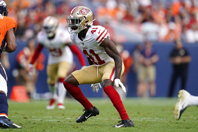 San Francisco 49ers Emmanuel Moseley (41) defends during an NFL preseason football game against the Denver Broncos, Monday, Aug. 19, 2019, in Denver. (AP Photo/Jack Dempsey)